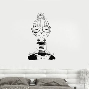 Vinyl Decal Yoga Meditation Teen Girl Room Zen Wall Stickers Mural free shipping