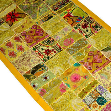 "60x20"" Yellow Indian Patchwork Tapestry, Wall Tapestry, Indian Tapestry, Indian Wall Hanging, Patchwork Runner, Wall Decor, Vintage Tapestry"