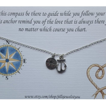 Graduation Gift, Graduation Friendship Necklace, Best friend gift, Compass and Anchor Charm Necklace, Long distance friendship, Wanderlust