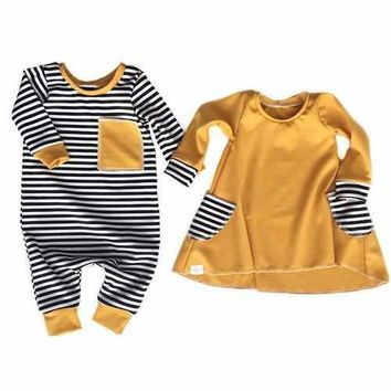 Girls Boys Sister Match Outfits Romper Dresses