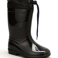 Black Drawstring Rain Boot