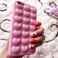 Best Protection Heart Bubble Pink iPhone 7 7 Plus & iPhone 6 6s Plus & iPhone 5s se Case Personal Tailor Cover + Gift Box