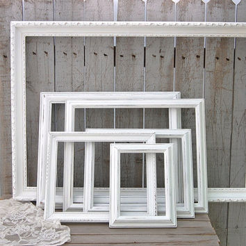 White shabby chic open frames