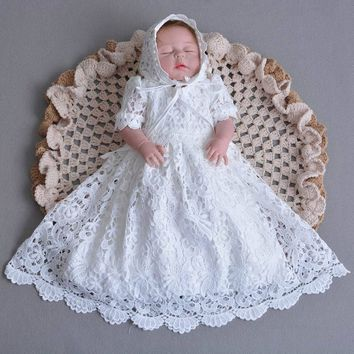 Retail Infant Baby Girl Lace Long Length Dresses Christening Gown Tulle Formal First Birthday Dress 0-30 monthes E108
