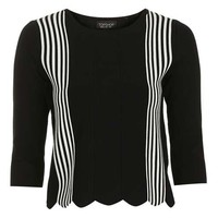 Stripe Scallop Top - Knitwear - Clothing
