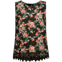 Full Tilt Floral Print Crochet Trim Girls Hi Neck Tank Black Combo  In Sizes