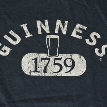 Vintage Black Guinness T-Shirt - Retro Cotton Tee Size L Large