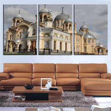 NO FRAME 3pcs verkhoturye-monastery-awesome-architecture Printed Oil Painting On Canvas Oil Painting for Home Decor Wall Decor