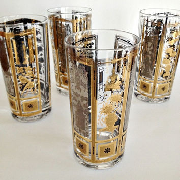 Mid Century Modern Glassware Tumblers Gold Silver Bar Glasses