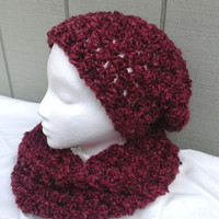 Crochet circle scarf and beanie, Chunky hat and cowl set, Teens hat and infinity scarf set