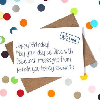 Facebook Birthday Messages Funny Happy Birthday Card FREE SHIPPING