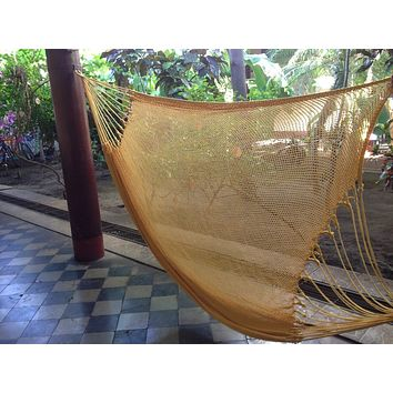 Yellow Mayan Double Hammock Indoor/Outdoor Cotton Hammock - Mission Hammocks