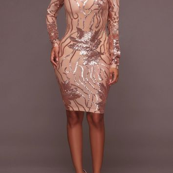 Rose Gold Patchwork Sequin Grenadine Backless Bodycon Band Collar Party Mini Dress