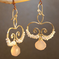 Nouveau 135 Hammered swirls with ivory pearls and rose chalcedony
