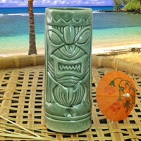 Ceramic Mean Green Tiki Mug - 11 ounce