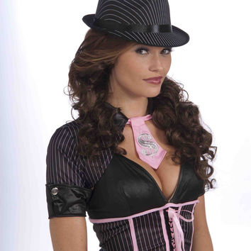 Ladies Pinstripe Fedora Hat Black/White