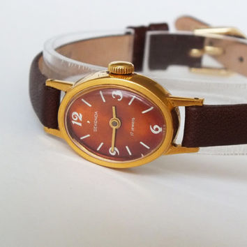 Watch 80s Vintage watch Russian Gold Plated Ladies wrist watch SEKONDA - Zaria (Dawn) small womens watch