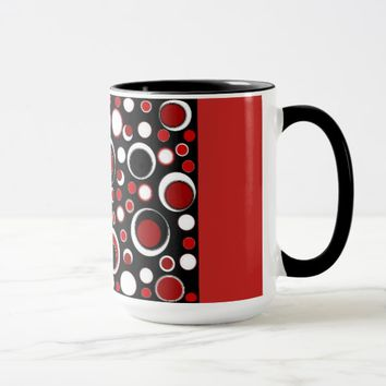 Black/Red Circle Pattern Mug