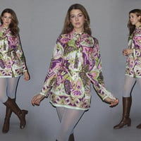 Vintage 60s TUNIC BLOUSE / Tunic Micro Mini Dress / Groovy Floral Print / Psychedelic Lime Green, Purple / Dagger Collar / Go Go, Hippie