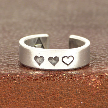 Zelda Heart Containers - Triforce - Legend of Zelda - Aluminum Ring