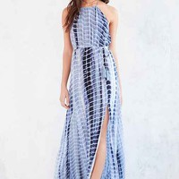 Ecote Tie-Dye High-Neck Halter Maxi Dress