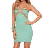 Strapless Sweetheart Sequins Embellished Fitted Sexy Evening Party Short Dress