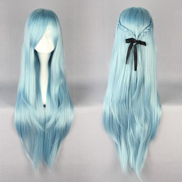 85cm Long Sword Art Online -Asuna Yuuki Multi-color Anime Cosplay Costume Wig,Colorful Candy Colored synthetic Hair Extension Hair piece 1pc WIG-217E
