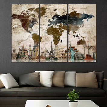 world map push pin wall art for travels, 3 pieces detailed world map wall decor, world map print framed, art print canvas map  Qn57