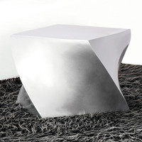 Twisted Cube Ottoman in Silver
