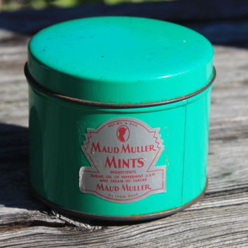 Maud Muller Mints Vintage Round Tin Container Dayton OH Green