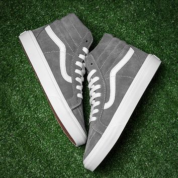 Best Deal Online Vans White Gray Sk8-Hi High Top Women Sneaker Flats Shoes Canvas Spor