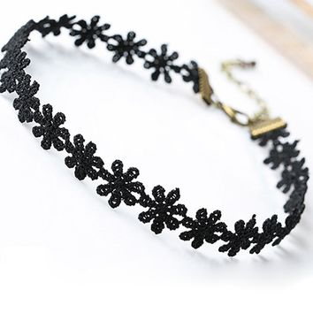 NK715 Fashion Hot Tattoo Punk Collares 2017 Vintage Love Lace Flower Necklace Choker For Women Chain Jewelry Statement Collier