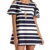 Striped Cold Shoulder Shift Dress by Charlotte Russe