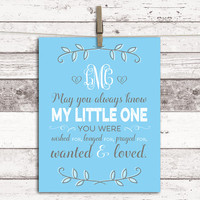 Personalized adoption gift - adoption art for baby boy - blue and gray nursery - adoption canvas art - gift for adopted boy