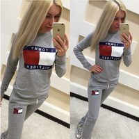 Letter Print Long Sleeve Sweatshirt with Drawstring Waist Jogging Pants