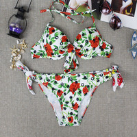 Womens Halter Cherry Floral Pattern Bikini Stylish Flower Swimwear Swimsuit for Summer