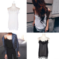 Hot Sale Newest Sexy White Black Sheer Lace Camis Women V neck Strap Faux Silk slip Tank Top femme feminino mono mujer corto Tee