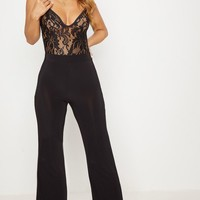 Petite Kyleigh Black Slinky Wide Leg Trouser
