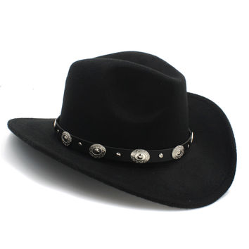 Retro 100% Wool Western Cowgirl Hat For Kids Wide