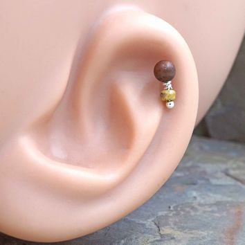 Cherry Rosewood Cartilage Earring Tragus Helix Piercing