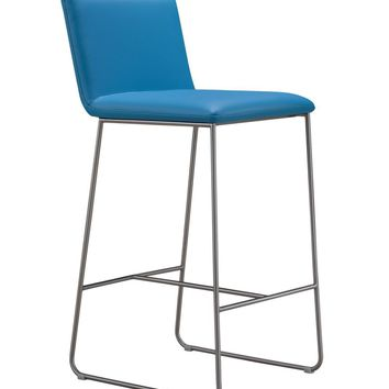 Harley Counter Stool Blue Top Grain Leather Brushed Stainless Steel