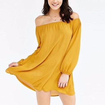 [15621] Chiffon Loose Off Shoulder Mini Dress