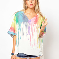 ASOS | ASOS Top With Plunge Neck In Melting Rainbow at ASOS