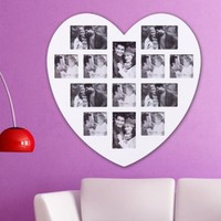 ADECO PF0305 13-Opening White Wooden Wall Hanging Collage Photo Picture Frames - Holds 4x5 4x6 Inch Photos, Heart Shape / Love Design,Best Gift:Amazon:Home & Kitchen