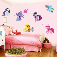 New arrival Kid Wall Stickers My Little Pony 6 ponies removal wall sticker girls sticker for kids room factory sales directly SM6
