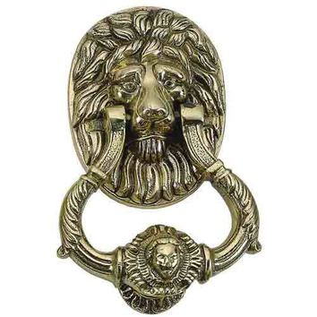 Brass Accents A07-K5010-609 Small Lion Antique Brass Door Knocker - (In Antique Brass)