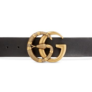 GUCCI tide brand female ring snake double G smooth buckle belt