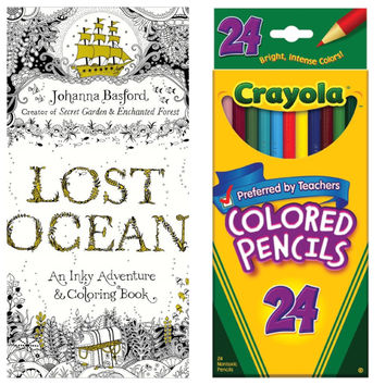 Lost Ocean An Inky Adventure by Johanna Basford Adult Coloring Book With Crayola Colored Pencils 24 Pack