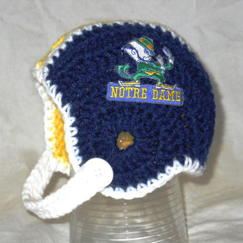 Notre Dame Inspired Crochet Baby Football Helmet Hat - Newborn, 0-3 Months, 3-6 Months, 6-12 Month Sizes