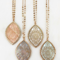 Engraved Floral Filigree Pendant Necklace : 4 colors